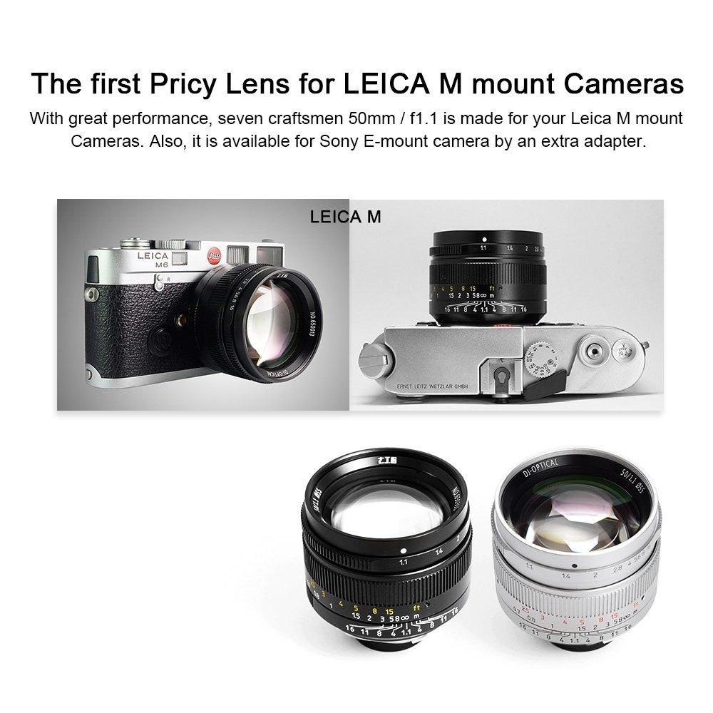Объектив 7Artisans 50mm f/1.1 предназначен для камер Leica M и Sony E при использовании адаптера