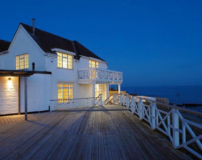 night shot of the beach house