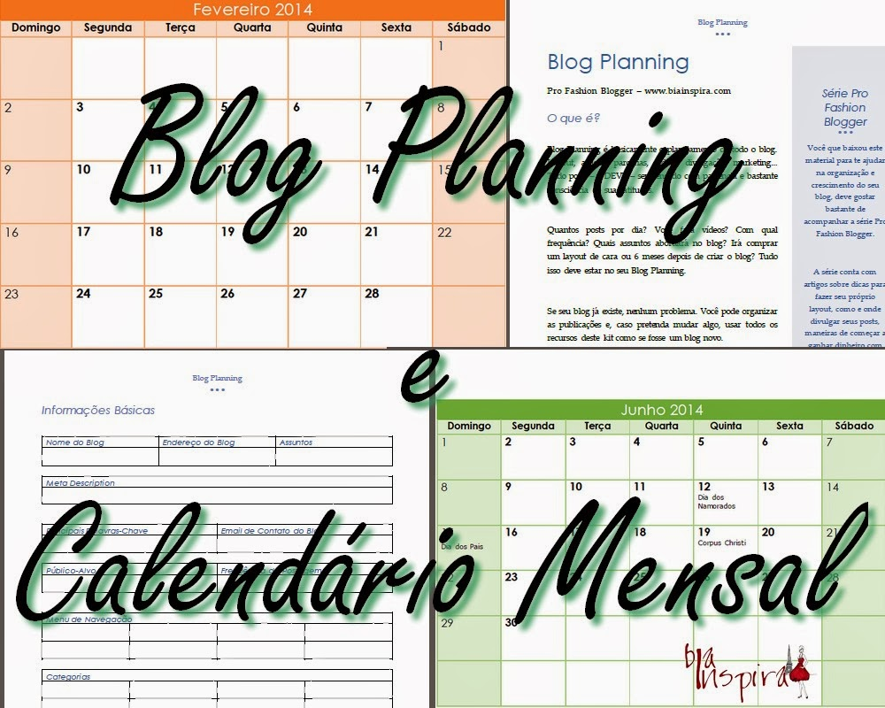 Blog Planning e Calendário Mensal para Download Gratuito