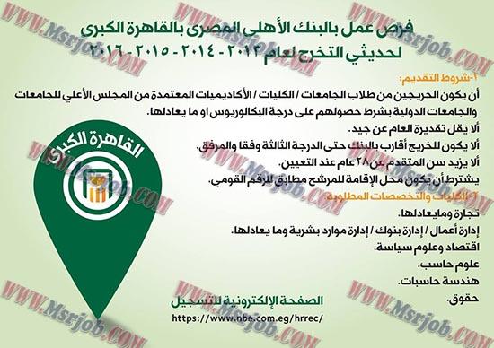فتح باب التعيينات بالبنك الاهلى المصري لحديثى التخرج دفعات 2013 حتى 2016 والتقديم والاوراق حتى 15 / 4 / 2017