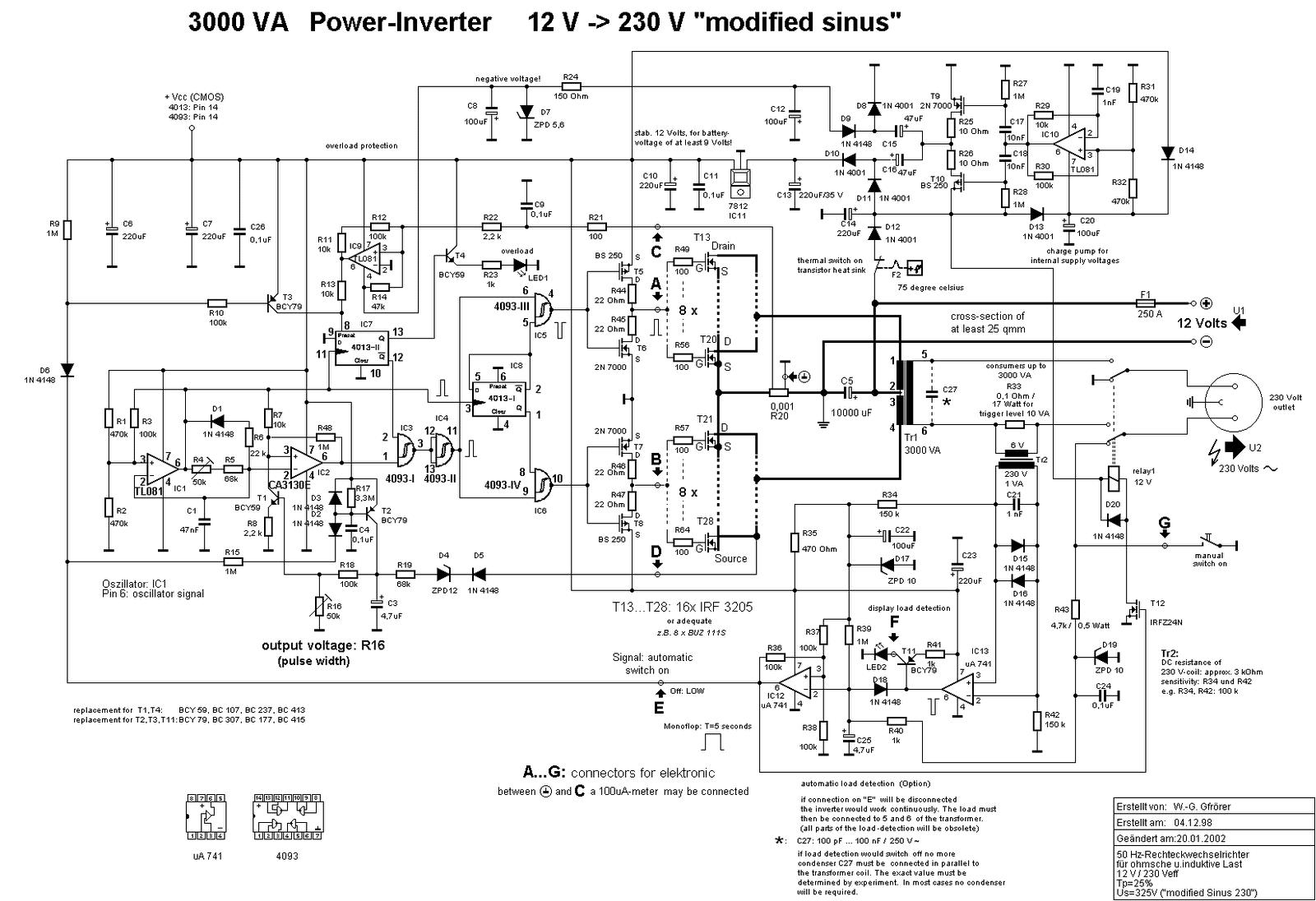 circuit diagram of 3000 watt power inverter 12v dc to 230v ac