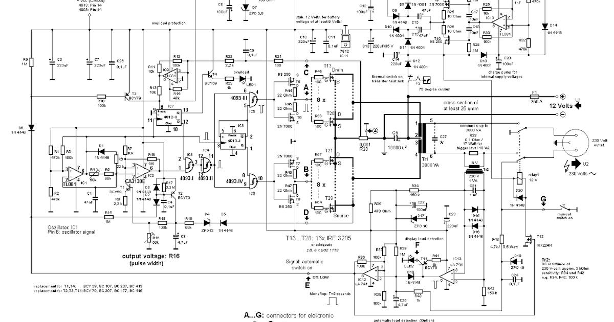 3000 Watt Power Inverter 12v Dc To 230v Ac Circuitstune
