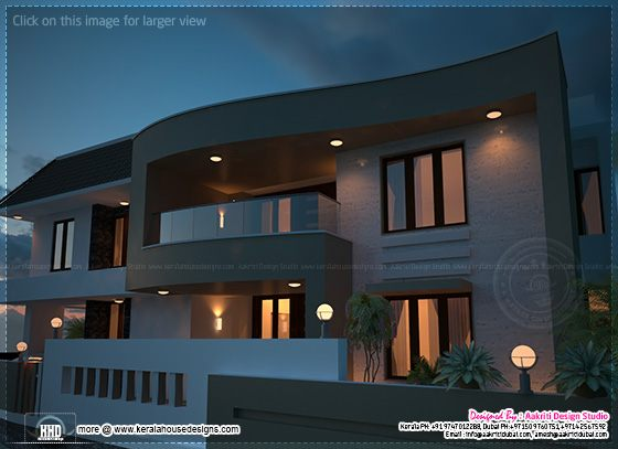 Night view of modern villa