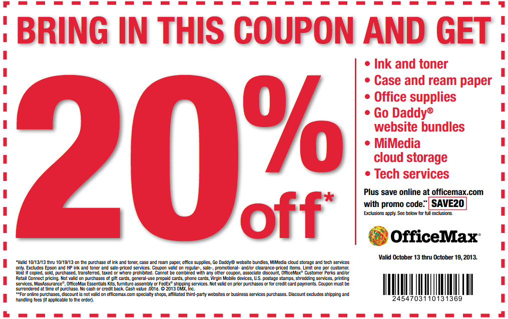 Office Max Coupon Save 20 Off Your Purchase Saving