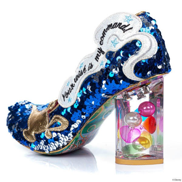 perspex heeled shoe filled with gems and sequins uppers