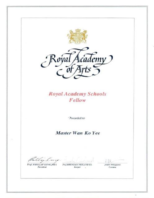 英國皇家藝術學院頒授給 Master Wan Ko Yee 義雲高的 Fellow證書