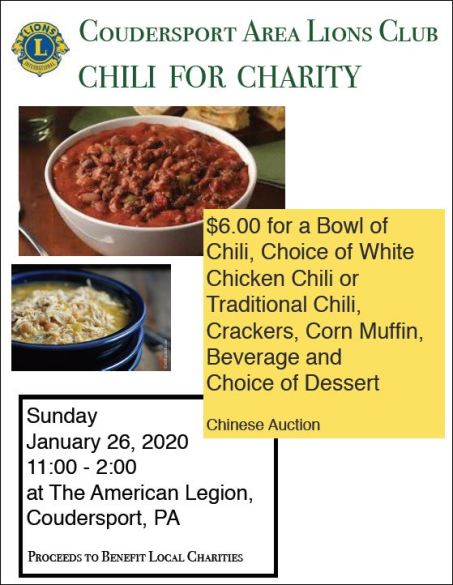 1-26 Chili For Charity, Coudersport Legion