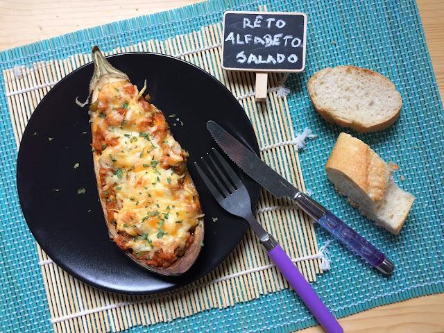 berenjenas gratinadas rellenas de atún y langostinos receta
