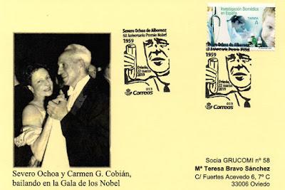 Tarjeta del matasellos del 60 aniversario de la concesión del Nobel a Severo Ochoa