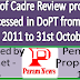 Status of Cadre Review proposals processed in DoPT from 1st January, 2011 to 31st October, 2017