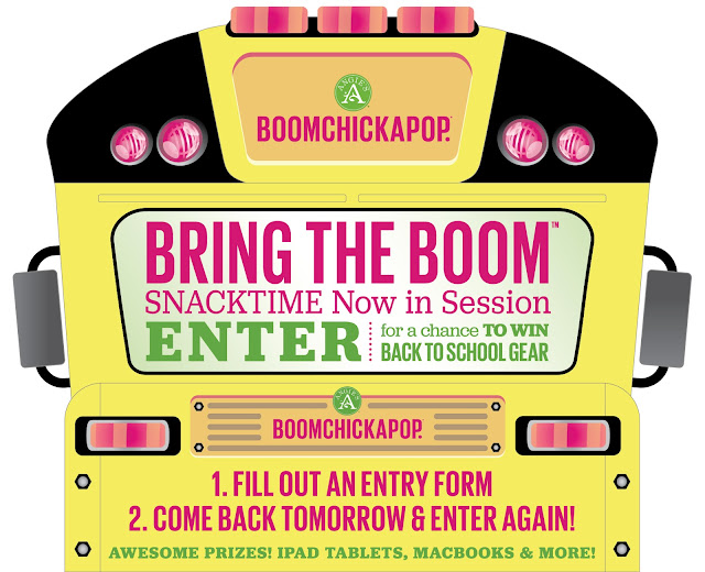 Angie's Boomchickapop snack products want you to enter daily for a chance to win electronics like a MacBook Air, an iPad Mini 2, back to school gear, yummy snacks and more!