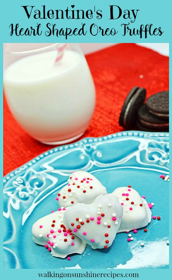 Heart Shaped Oreo Cream Cheese Truffles pin image from Walking on Sunshine Recipes
