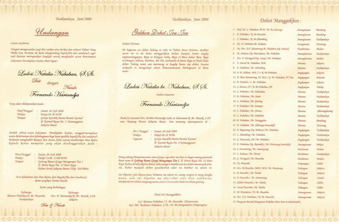 Contoh Undangan Pernikahan Bahasa Batak Harga Murah