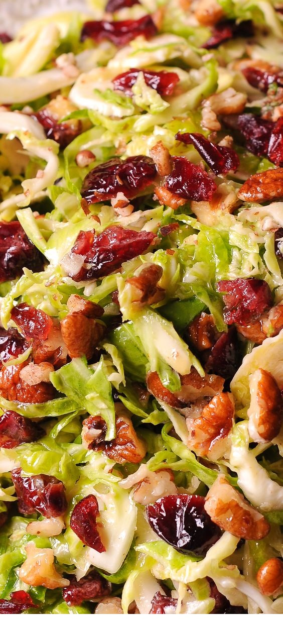 Brussels Sprout Cranberry-Pecan Salad In Honey Mustard Vinaigrette