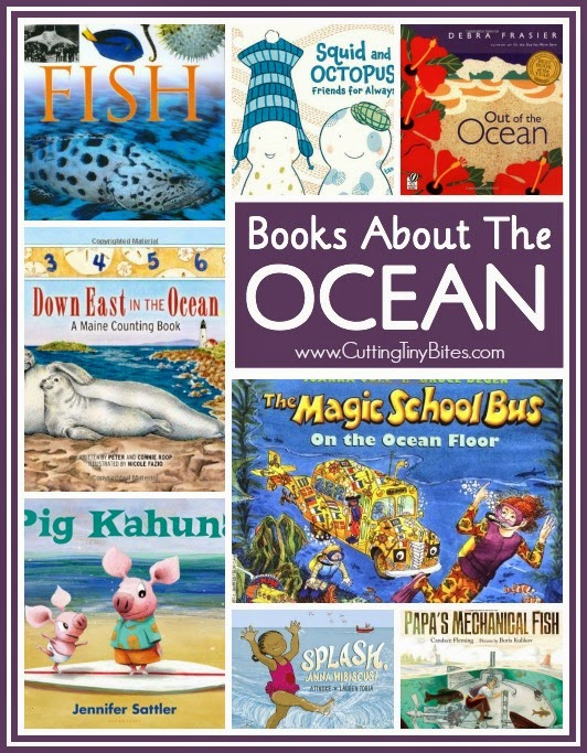 Collage of ocean books for preschoolers, book review list