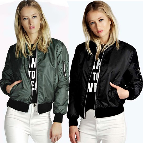 Solid color short fashion zip jacket