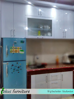 Kitchen set minimalis letter L hpl putih