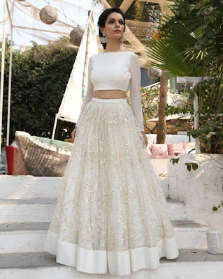 Amazing two piece Indian wedding gown with long sleeve.