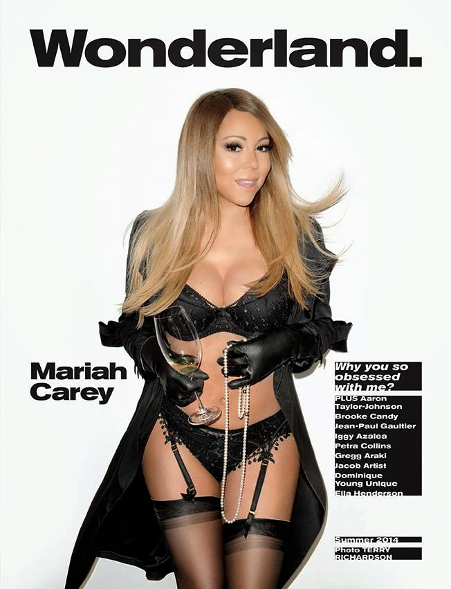 Mariah Carey poses in black lingerie for the Wonderland cover