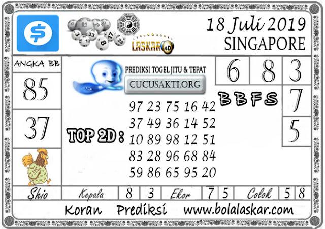 Prediksi Togel SINGAPORE LASKAR4D 18 JULI 2019
