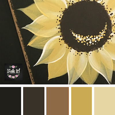 Rich yellows and browns look beautiful together in this folk art inspired colour palette