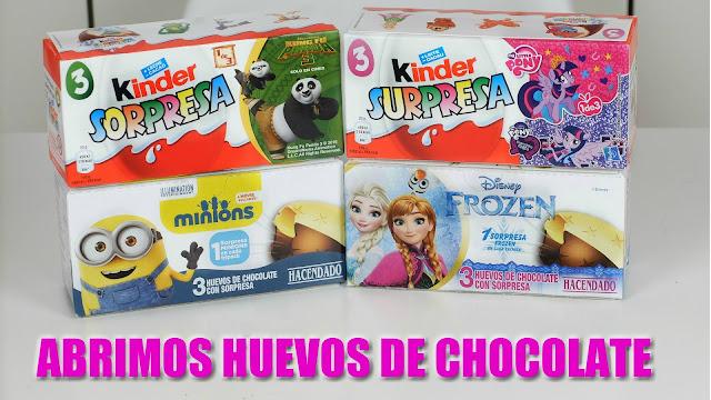 abrimos huevos chocolate kinder my little pony - kung fu panda - frozen - minios - open chocolate eggs