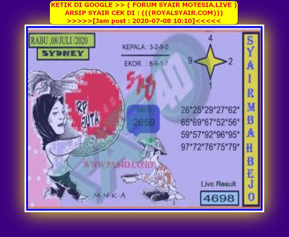 Kode syair Sydney Rabu 8 Juli 2020 103
