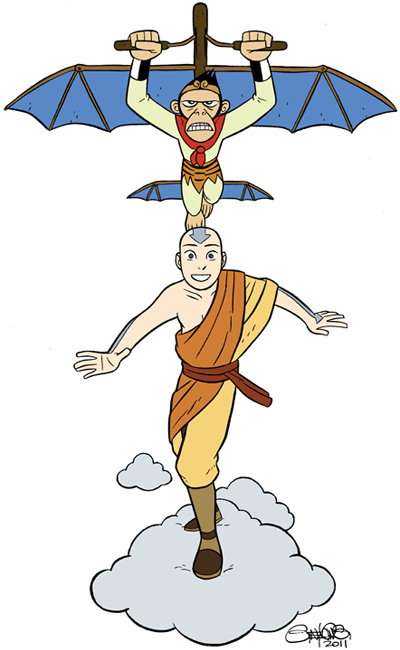 Aang and Monkey King by  Gene Luen Yang.