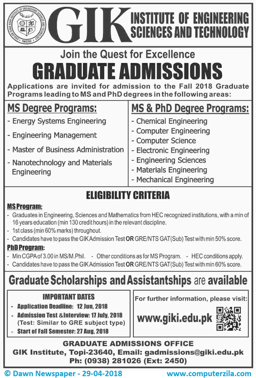 GIK Institute of Engineering, Sciences and Technology Admissions Fall 2018
