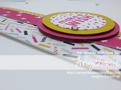 "http://stempelkeuken.blogspot.com 1 3/4"" Circle Punch, 1 3/8"" Circle Punch, 2"" Circle Punch, Crushed Curry, It's My Party bundle, It's My Party DSP, Melon Mambo, Rhinestone Basic Jewels, Whisper White Thick Cardstock,"