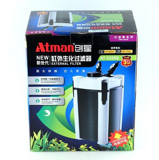 lọc thùng thủy sinh Atman 3335S thế hệ mới tiết kiệm điện và có nút nhấn mồi nước