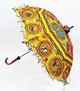 Indian Rajasthani  Embroidery Work Design Handmade Cotton Parasol Umbrella aloof look