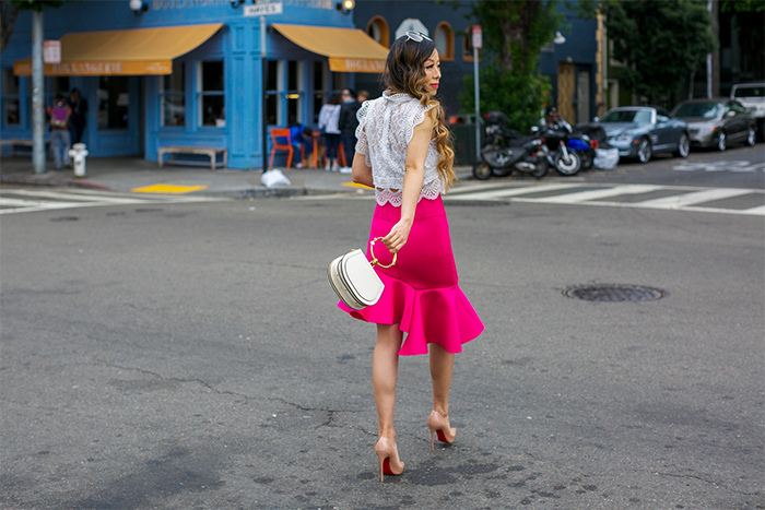 hot pink asymmetric hem skirt, frill hem skirt, chloe nile bag, christian louboutin so kate pumps, chloe sunglasses, chicwish lace top, lace top, date night outfit ideas, baublebar ombre earrings, san francisco street style, san francisco fashion blog