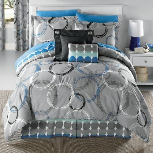 Discount comforter sets: Brylane Home Circles Grey Blue