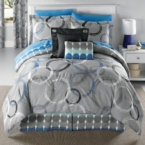 Discount comforter sets: Brylane Home Circles Grey Blue ...