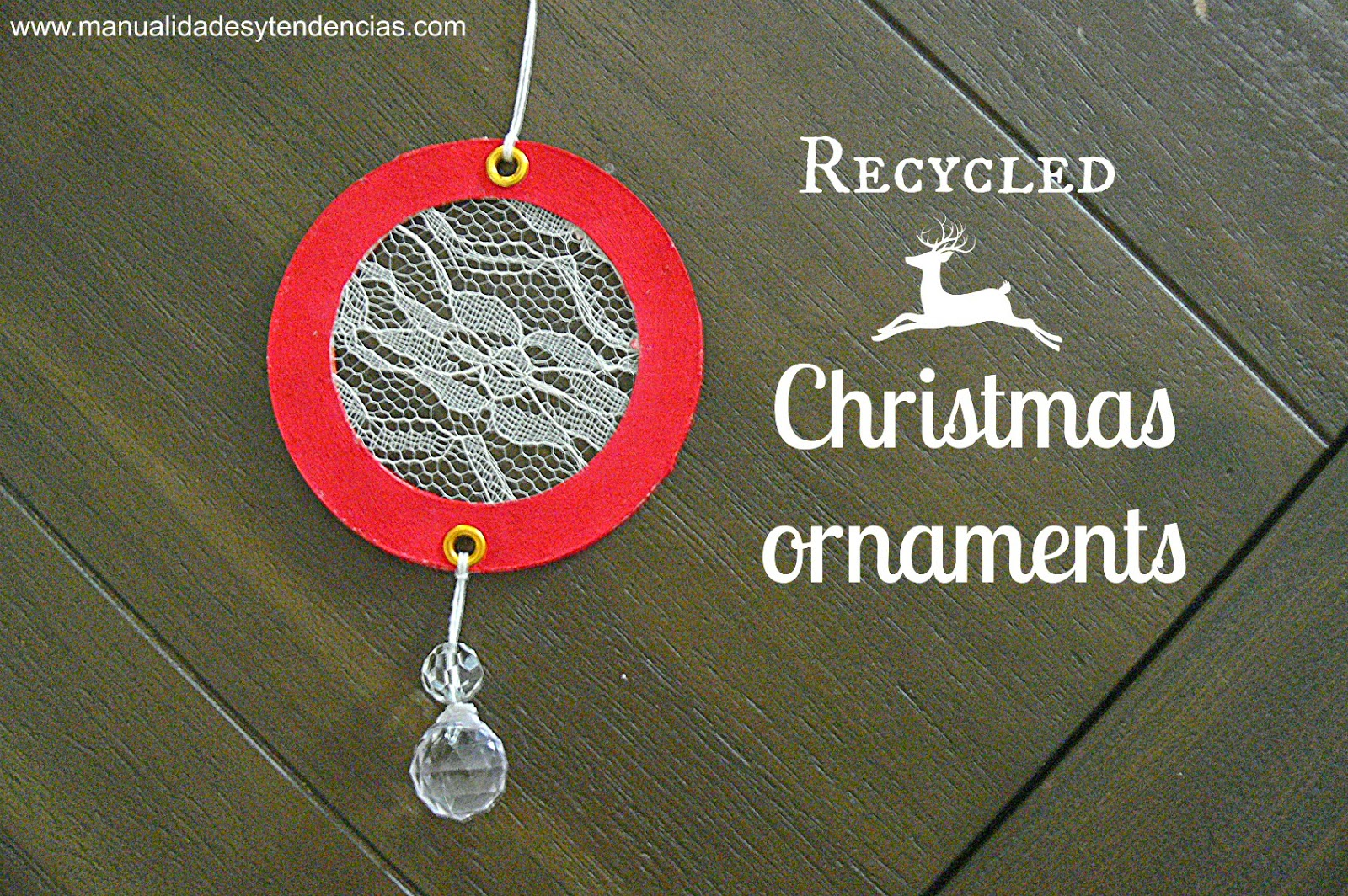 Recycled lace Christmas ornament