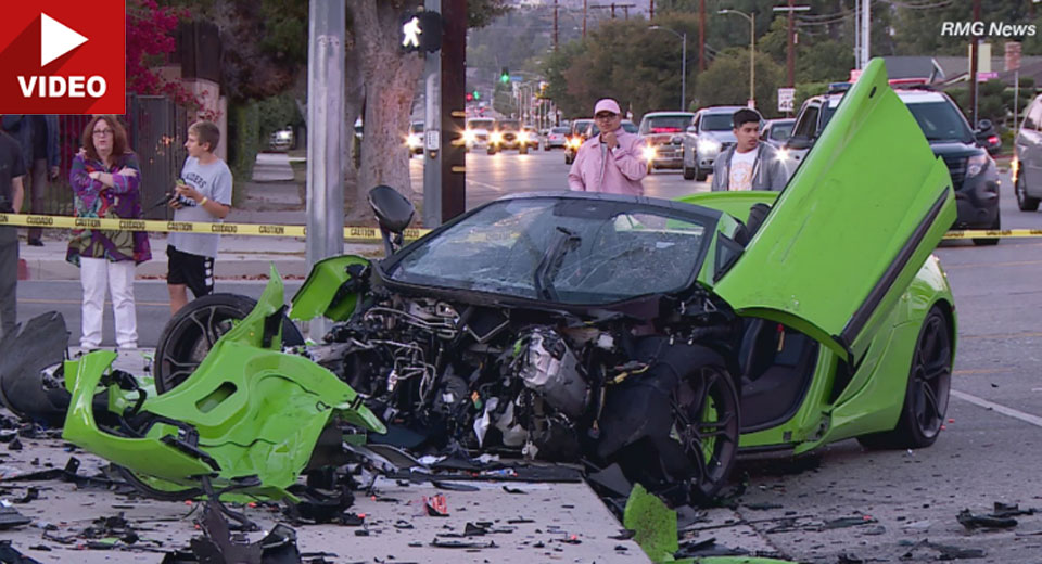 McLaren sports auto crashes in Woodland Hills; two cars flee the scene