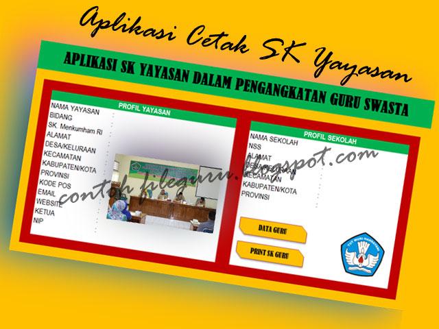 Download Aplikasi Cetak SK Yayasan Untuk Guru Swasta SD/MI Format Excel Terbaru