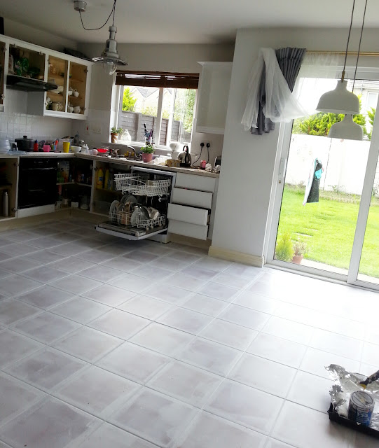 Painted Parquet Kitchen Floor: Painted Tile Floor-no Really!