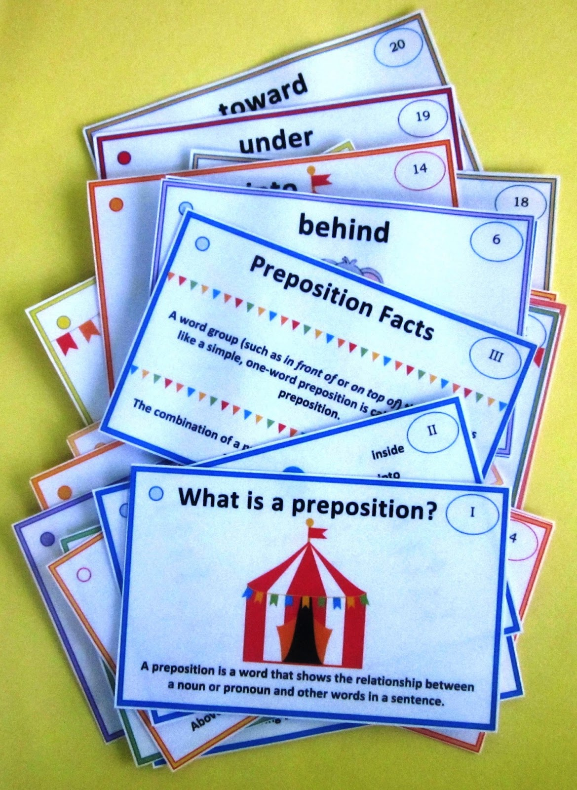 Nyla S Crafty Teaching Circus Prepositions