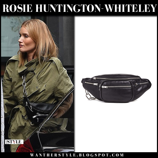 Rosie Huntington-Whiteley in green jacket with black leather belt bag alexander wang model street style august 30