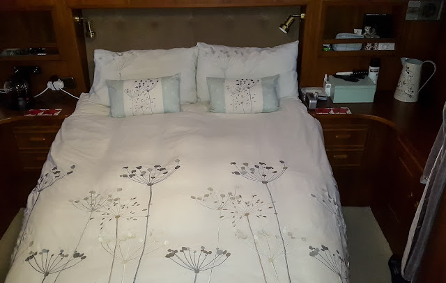 Photo of our very comfy bed with its 8in memory foam mattress
