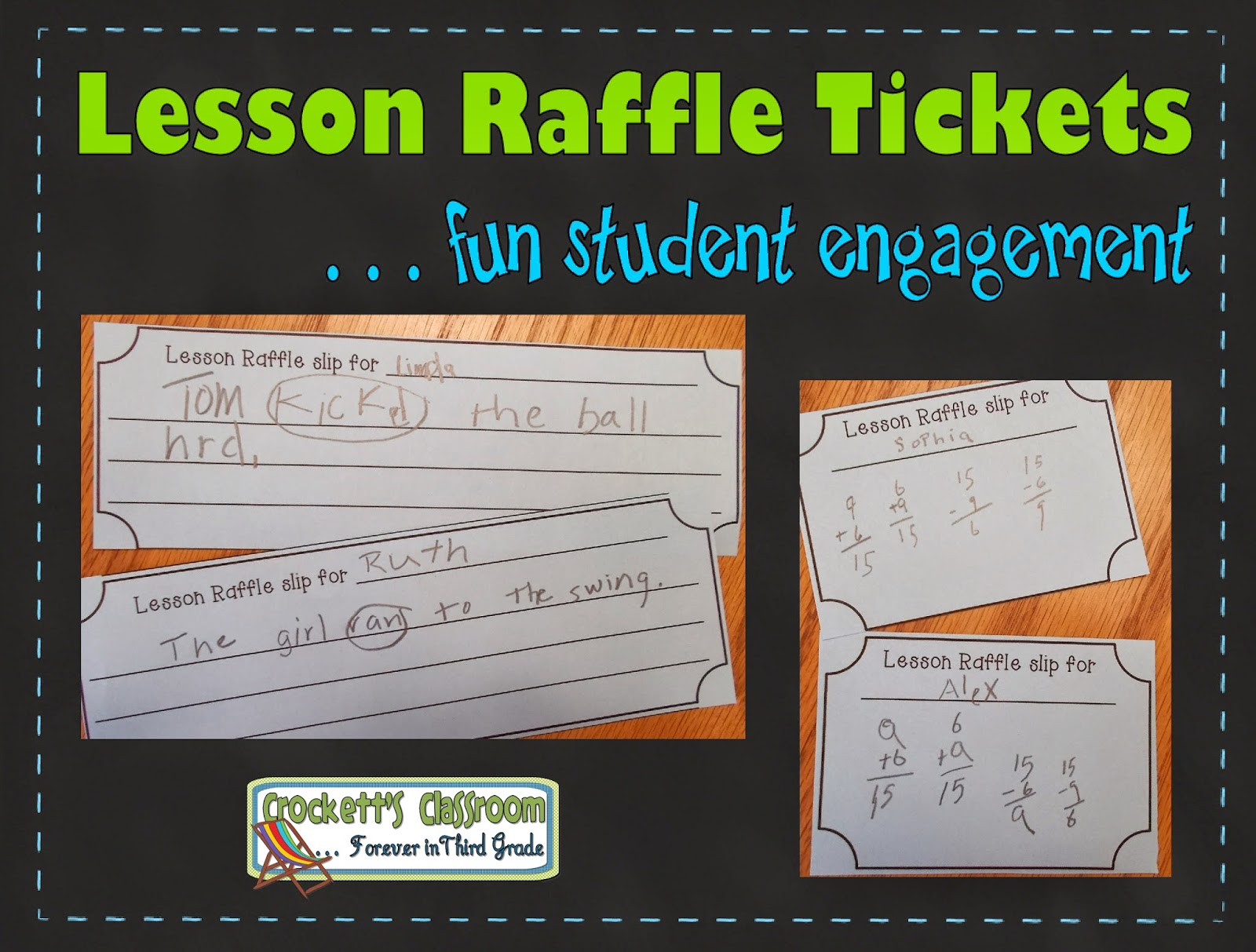 Lesson Raffle Slips, a fun and engaging way to check student understanding during a lesson-----crockettsclassroom.com
