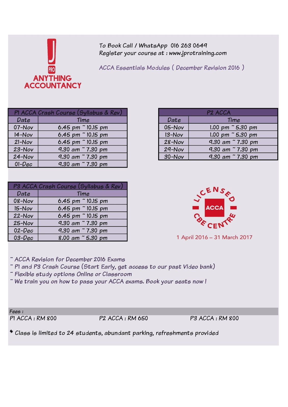 Acca f1 exam booking