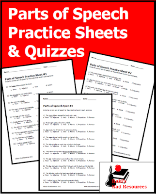 Free quizzes and practice sheets for parts of speech - free grammar download from Raki's Rad Resources.