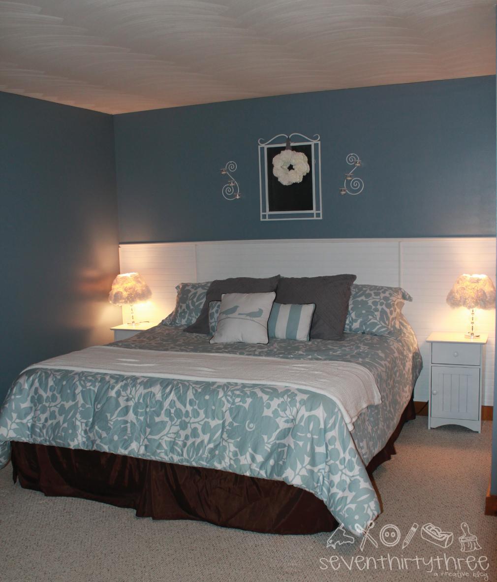My Bedroom: Beadboard Wall Headboard
