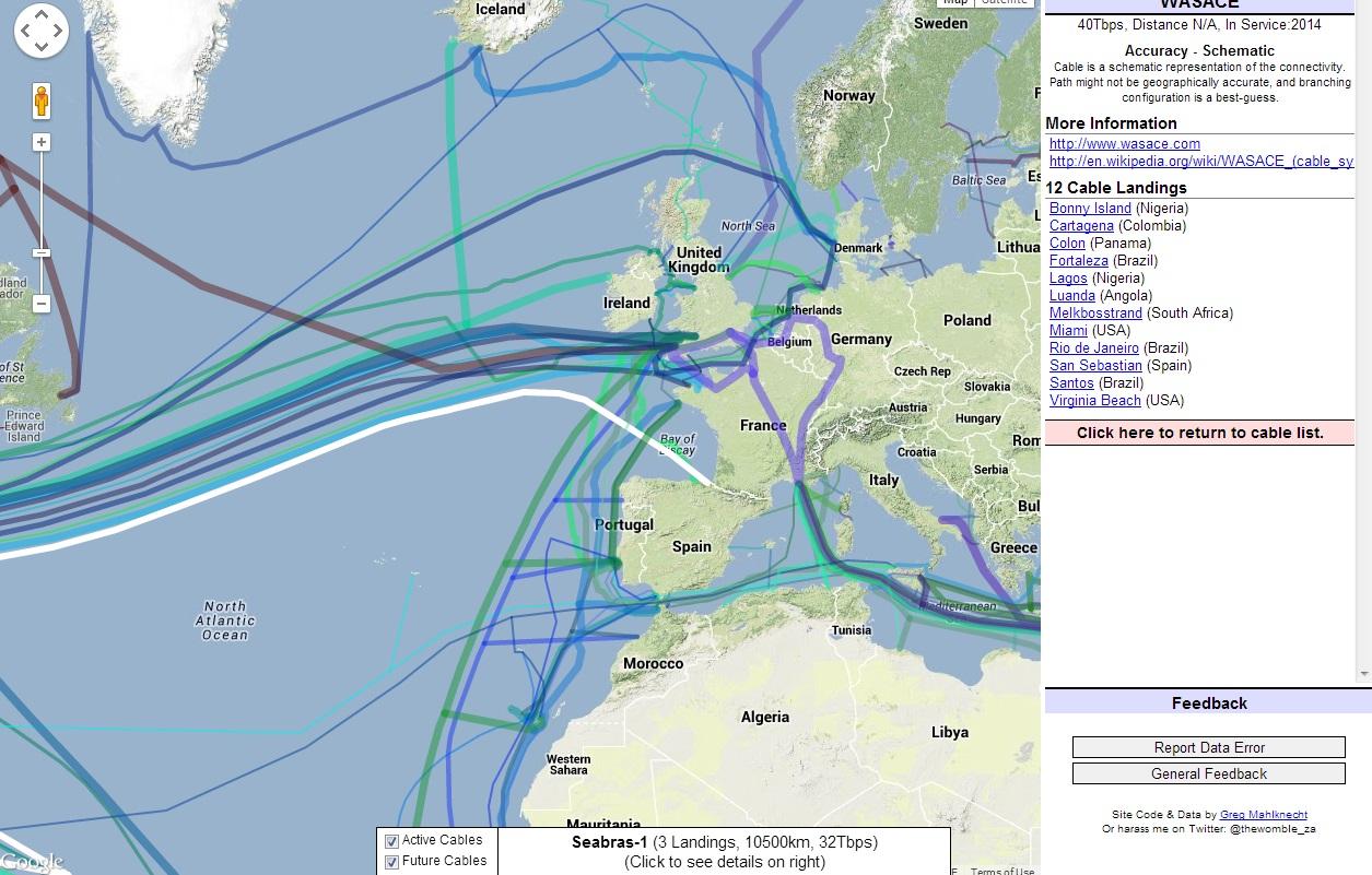 mapa de fibra optica em portugal Mapa dos cabos de fibra óptica submarinos | Aberto até de Madrugada mapa de fibra optica em portugal