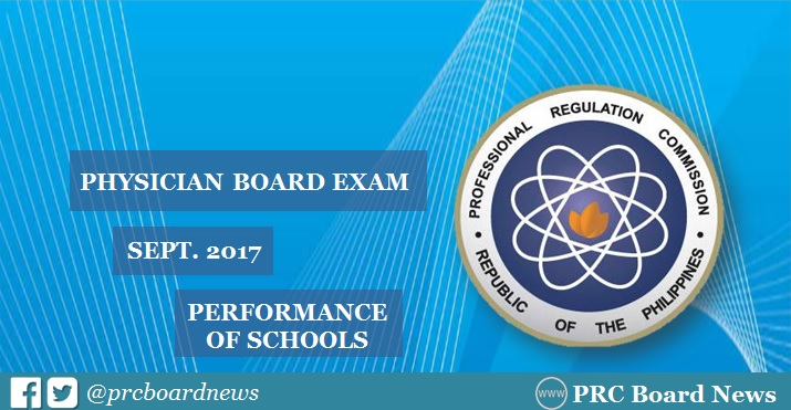 September 2017 Physician board exam result: performance of schools