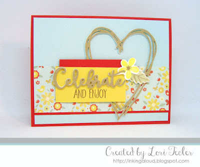Celebrate and Enjoy card-designed by Lori Tecler/Inking Aloud-stamps and dies from Lil' Inker Designs