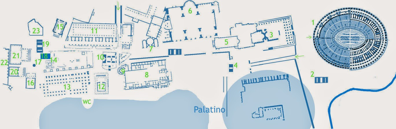 mapa para orientação no Fórum Romano